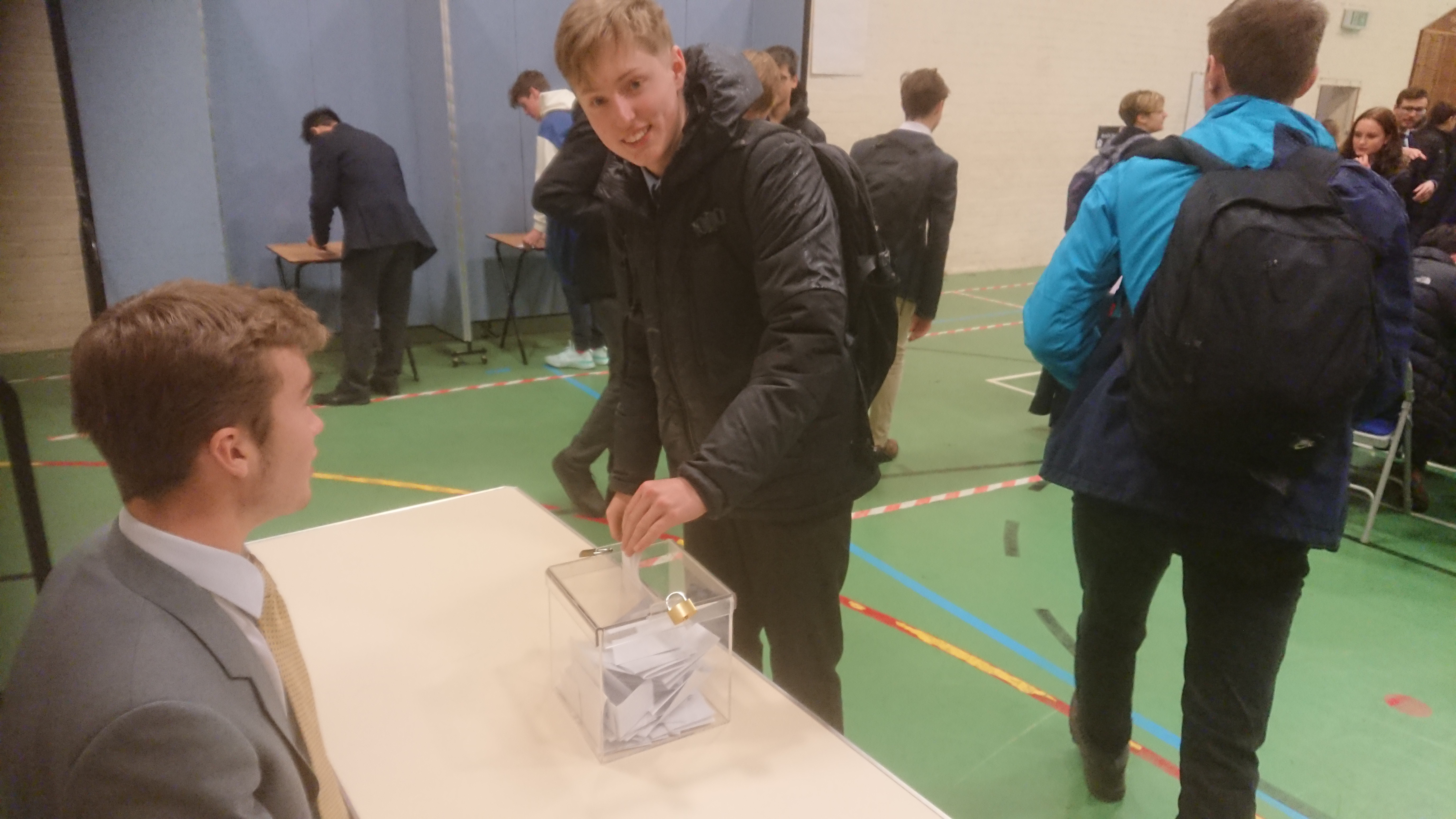 Casting a ballot at the Kingham Hill Polling Station
