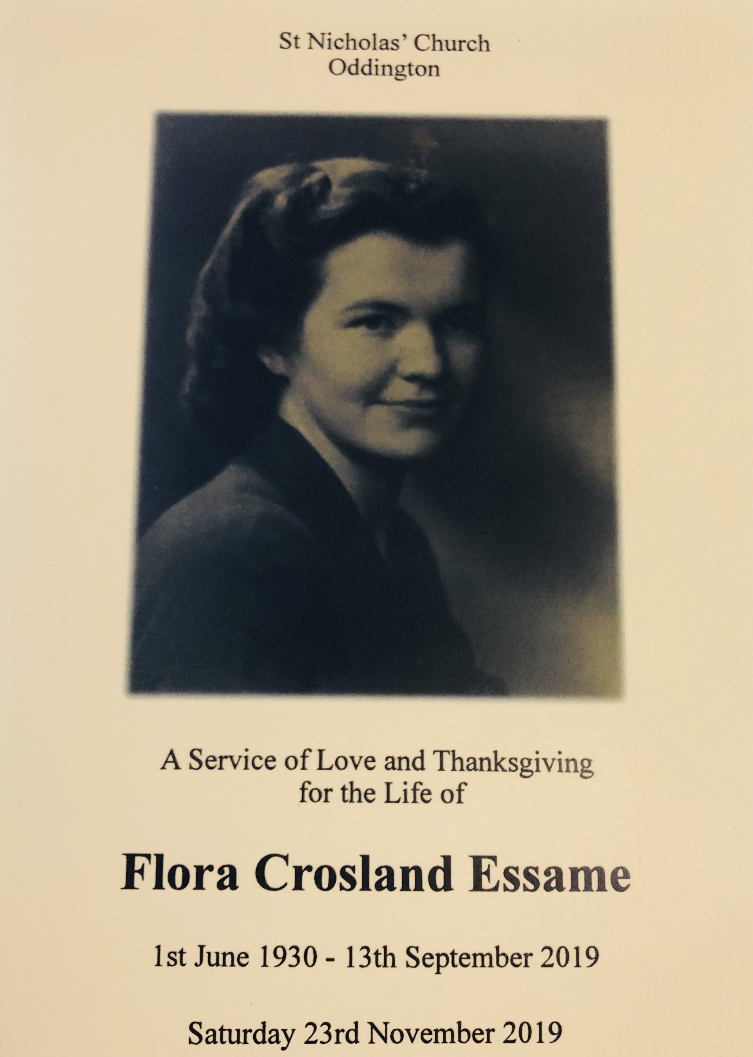 Flora Crosland Essame, Service of Thanksgiving